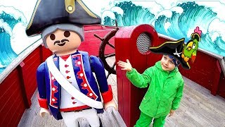 Pirates Pretend Play at Amusement Park for Kids Playing on the Playground  Playmobil