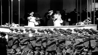 King George and Queen Elizabeth inspect 20,000 members of home-guard defense unit...HD Stock Footage