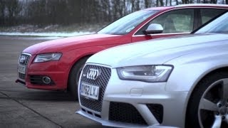 Audi S4 v Audi RS4. Does Supercharging Rule? - /CHRIS HARRIS ON CARS(Can REVO Technik make a raggedy old S4 match the gorgeous new RS4? Drag race to find out., 2013-04-03T18:53:38.000Z)