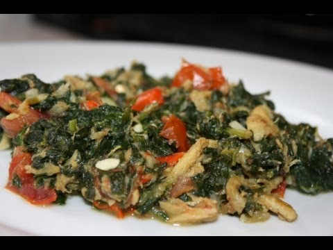 Spinach Cooked With Salted Cod Bits.