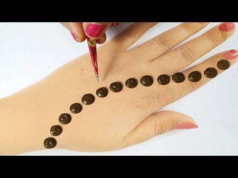 डॉट्स से आसान मेहँदी डिज़ाइन लगाना सीखे  - 3 Full Hand Mehndi Design from Mehndi Dots!