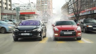 Download ПАССАЖИРЫ В ШОКЕ! Гонка TESLA Model S vs NISSAN GT-R  - КТО БЫСТРЕЕ? Mp3 and Videos