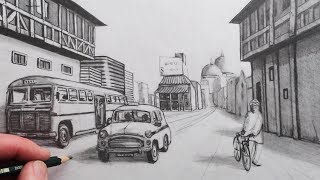 How to Draw a City Street View in 1-Point Perspective: Narrated