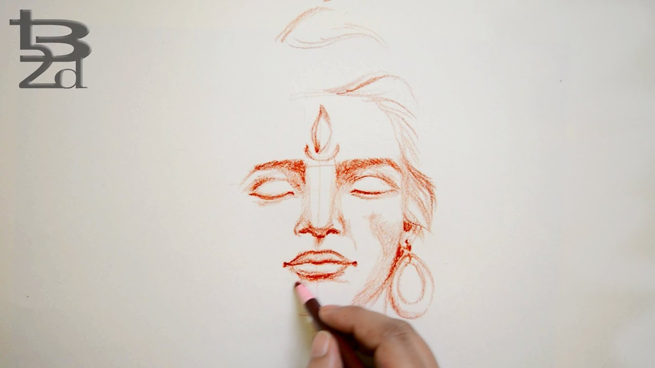 How to draw face lord shiva face pencil sketch step by step born2draw