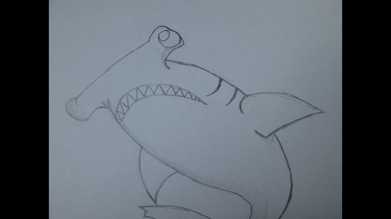 Cómo dibujar un tiburón martillo - YouTube