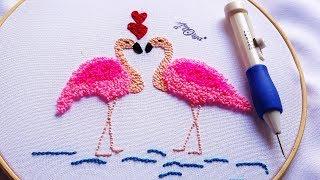 Que Lindo Bordado de Flamingos