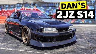 homepage tile video photo for Danger Dan's 2JZ S14 240SX vs Tire Slayer Studios, everyone wins!