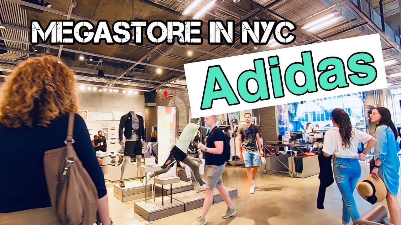 trama Exactitud Clasificar  mega Adidas store New York 2019 (4K) . - YouTube