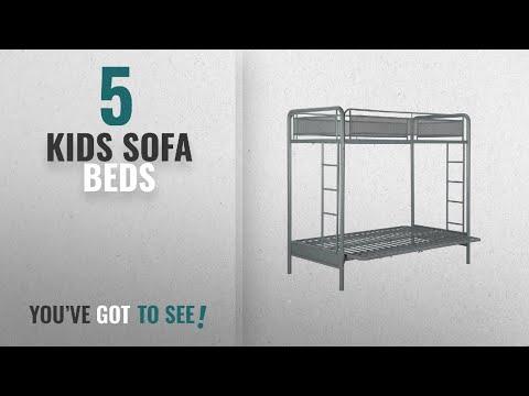 Top 10 Kids Sofa Beds [2018]: DHP Rockstar Metal Bunk Bed, Twin-Over-Futon - Silver