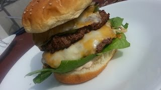 Jalapeno Double Cheese Burger - First Cook On The Kettle-q
