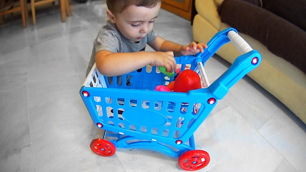 Brinquedos Para Bebês Carrinho De Compras Com Frutas E Verduras Supermarket Mini Shopping Cart Youtube