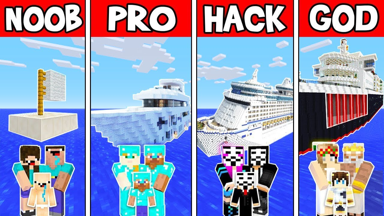 Minecraft - NOOB vs PRO vs HACKER vs GOD : FAMILY BOAT in Minecraft ! Animation