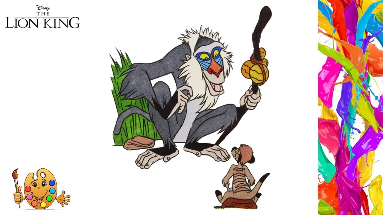 Coloring The Lion King : Rafiki & Timon  Coloring pages  Coloring book