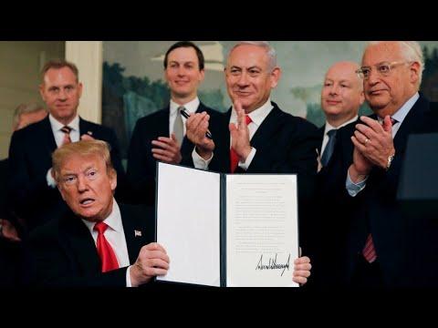 توقيع الاعتراف الأمريكي بسيادة إسرائيل على الجولان  - نشر قبل 9 ساعة