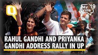 Rahul Gandhi and Priyanka Gandhi Address a Rally in Fatehpur Sikri, UP
