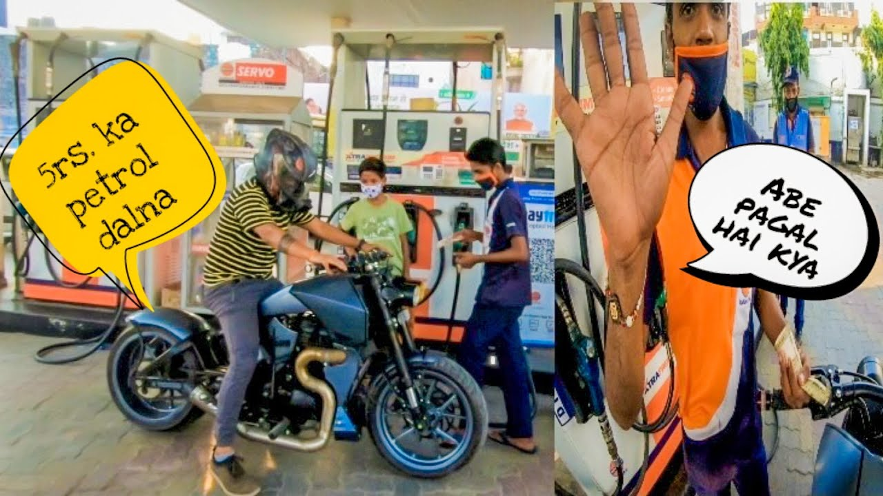 Filling 5 Rs Petrol In Yoddha   Epic Public Reaction on Modified Bike 😂😂   Vampvideo  