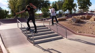 Skaters Do Handrails At The Same Time!