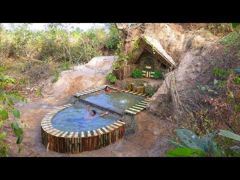 : Build Beautiful Swimming Pool & Secret House Underground Using Bamboo