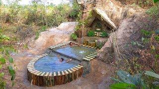 Full Video : Build Beautiful Swimming Pool & Secret House Underground Using Bamboo