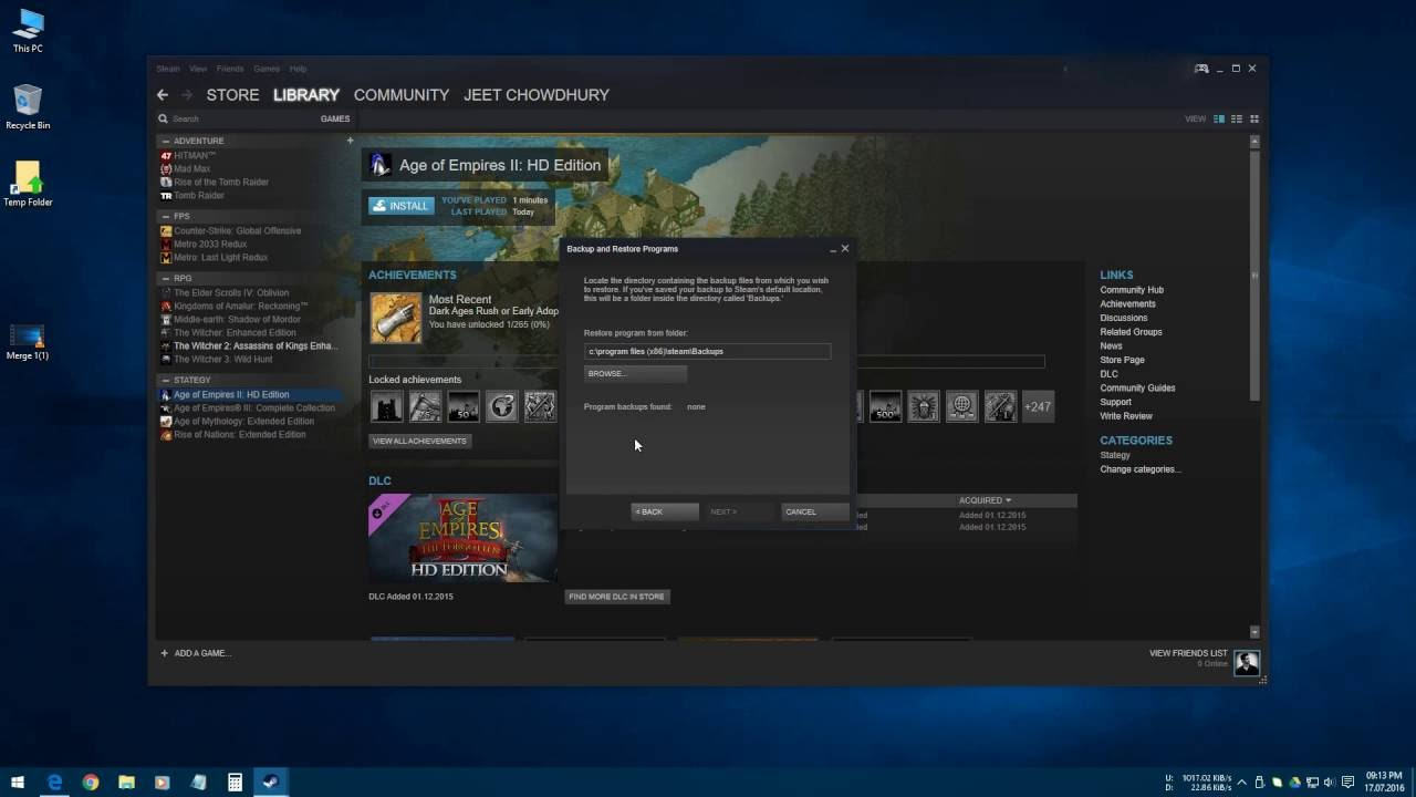 How To Restore Steam Games From Previous Backup Or External Hard Disk