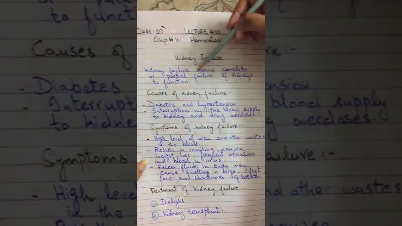 Class Ten Biology Unit 11 Homeostasis Topic Disorders Of Kidney Kidney Failure 10 Youtube