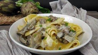 Pappardelle  cremose  con carciofi e salsiccia-artichoke and sausage pasta