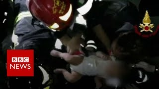 Baby rescued from Italian earthquake- BBC News