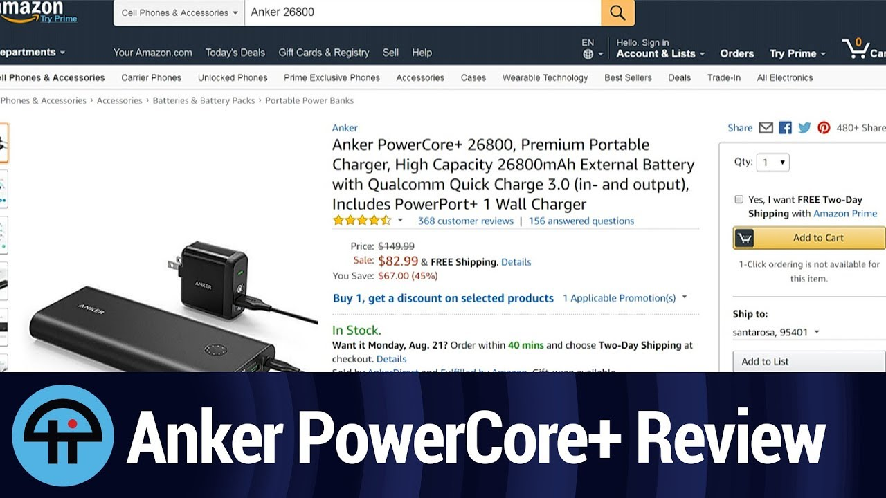 Anker PowerCore+ 26800 Portable Charger