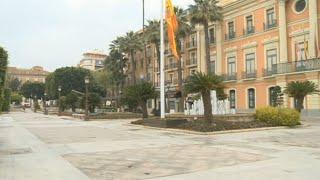 Lugares emblemáticos de Murcia, vacíos a causa del confinamiento