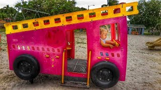 OUTDOOR ACTIVITY - Baby Alive new Dolls and little girl Elis on Fire Truck Playground with Thomas