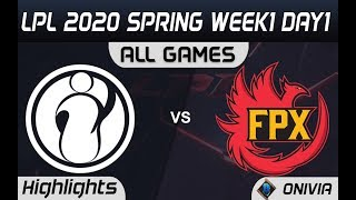 IG vs FPX All Games Highlights LPL Spring2020 W1D1 Invictus Gaming vs FunPlus Phoenix LPL Highlights
