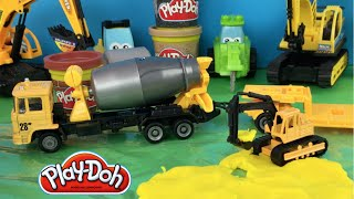 Play Doh play Cement Truck with Trailer for Excavator are the perfect mighty machines toys