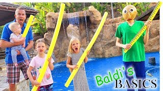 Baldi Takes Over Our Pool!!! Escaping Baldi's Resort!