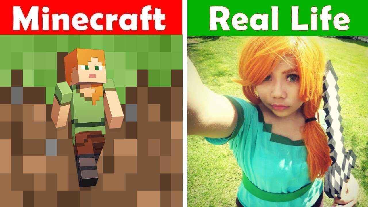 Minecraft Vs Real Life Minecraft Alex Steve In Real Life Skeleton In Real Life Youtube
