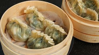 Shrimp & Asian chive dumplings (Saeu buchu mandu: 새우 부추 만두)