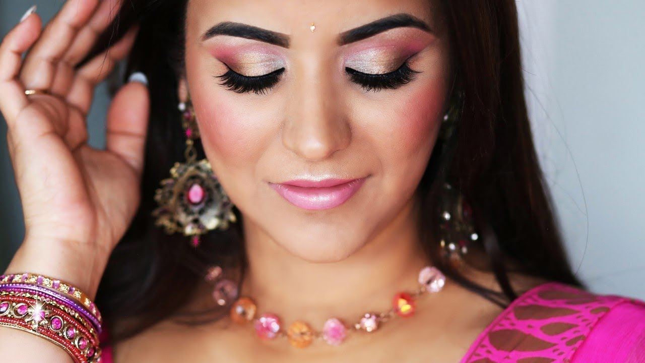 GLOWY FRESH-FACE MAKEUP FOR PINK SAREE L INDIAN PARTY MAKEUP I SmithaDBeauty - YouTube