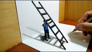 3D Trick Art on Paper   Man with stairs