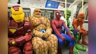 Самое смешное видео в мире, приколы! Сходка супергероев в метро