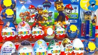 Киндер Сюрпризы,Unboxing Kinder Surprise Paw Patrol Щенячий Патруль Disney Cars 3,Маша и Медведь