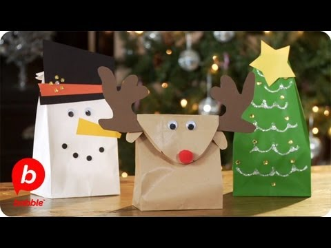 make 3 christmas gift bags tree reindeer snowman crafts babble