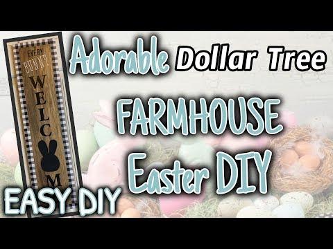 ADORABLE Dollar Tree FARMHOUSE Easter DIY Decor | EASY Dollar Tree DIY