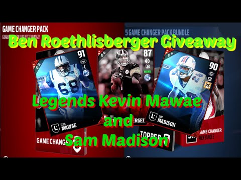 Madden 17 Legends Sam Madison Kevin Mawae - Ben Roethlisberger Giveaway  Game Changer Pack Opening