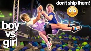 BOY vs GIRL Last To Leave Trampoline Park *Extreme Acro Gymnastic Challenge*