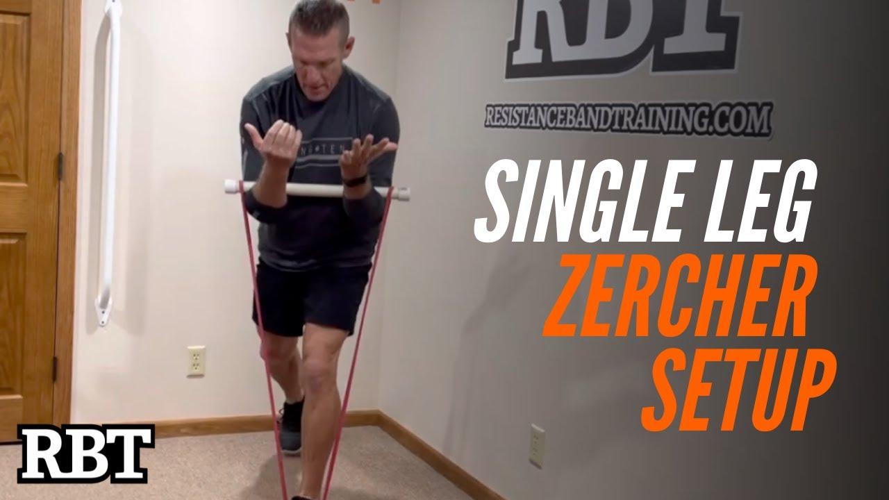 Band Zercher Single Leg Squat Setup / Resistance Band Training