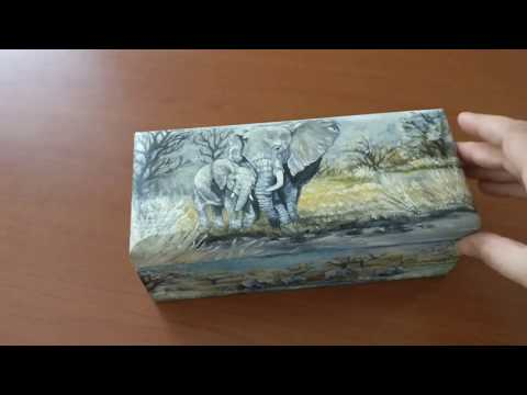 Painting wooden tea box | Elephant