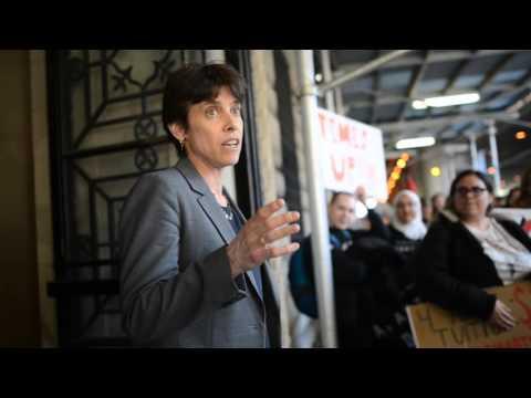 EVP Goldberg meets with CDCJ  protestors outside Casa Italiana