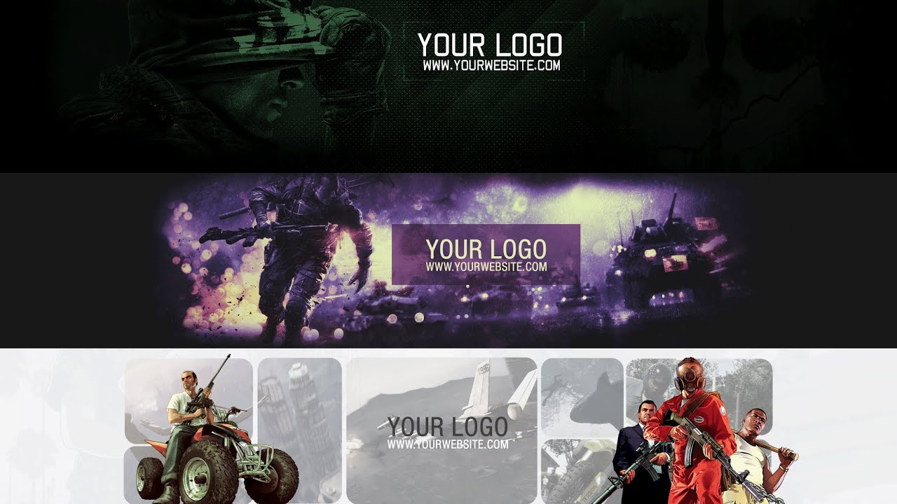 free - youtube one channel banner pack  gamingpack