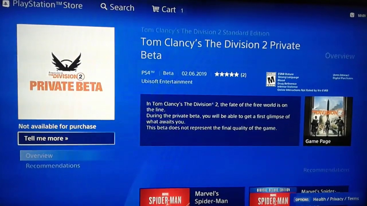 free download game the division 2 beta on ps4
