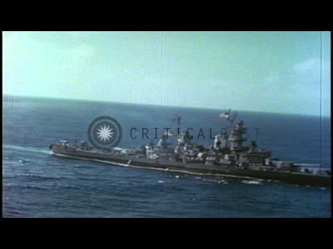 A Japanese destroyer, HMS King George V ship and an Iowa Class battleship underwa...HD Stock Footage