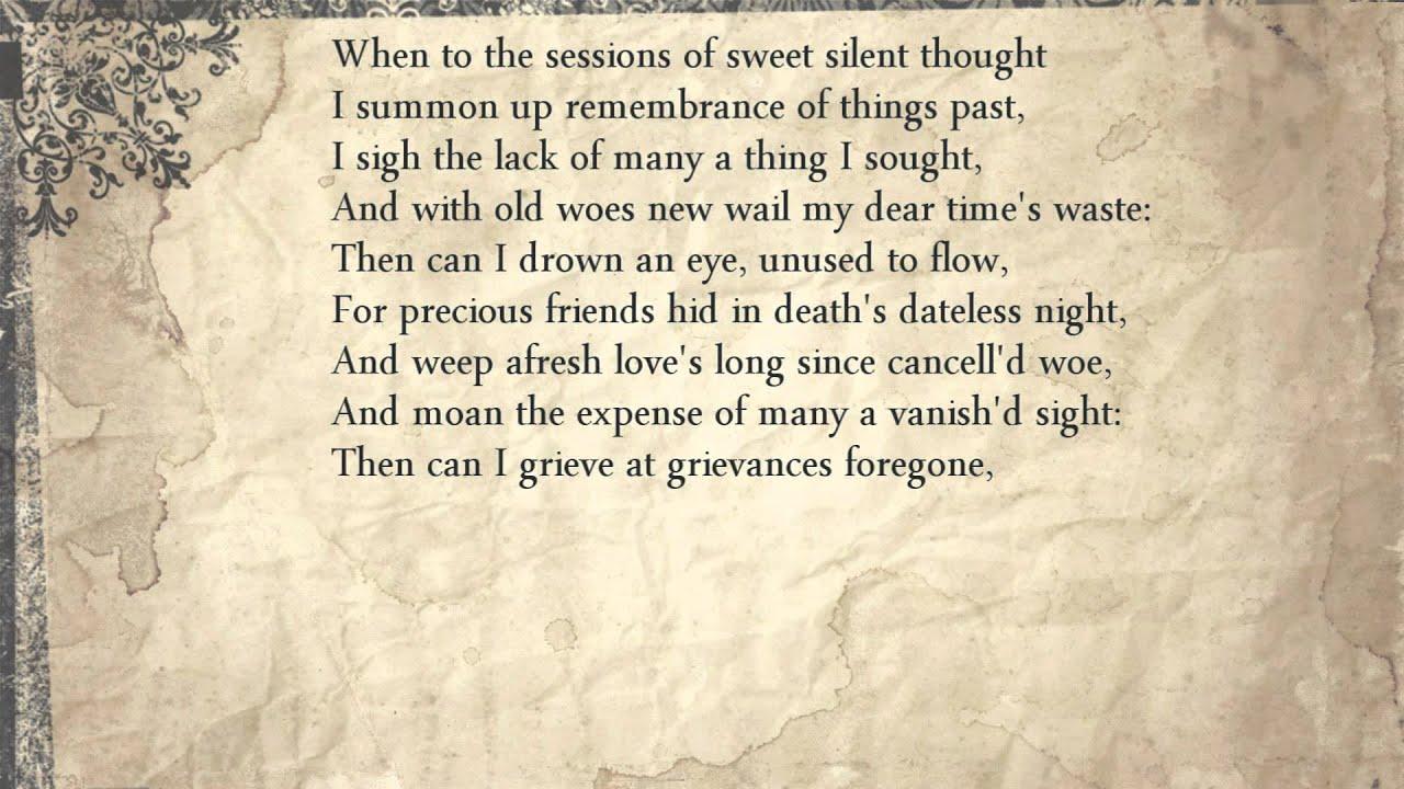 shakespeare sonnet 30 summary